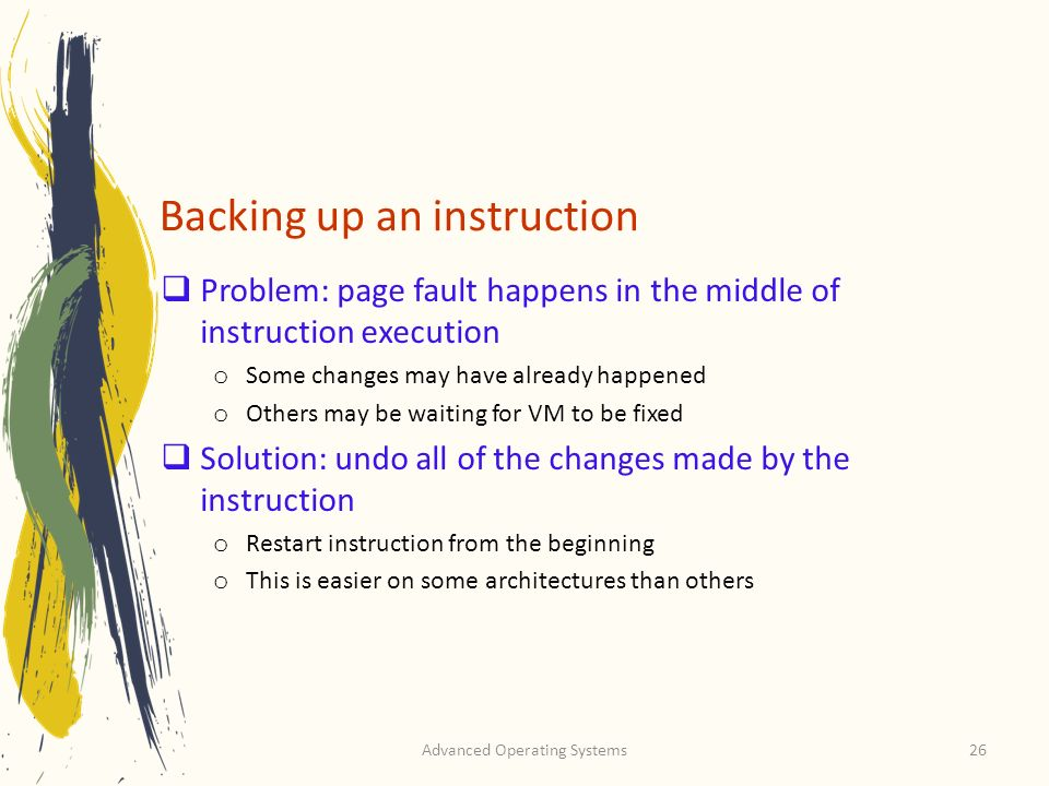 Backing up an instruction