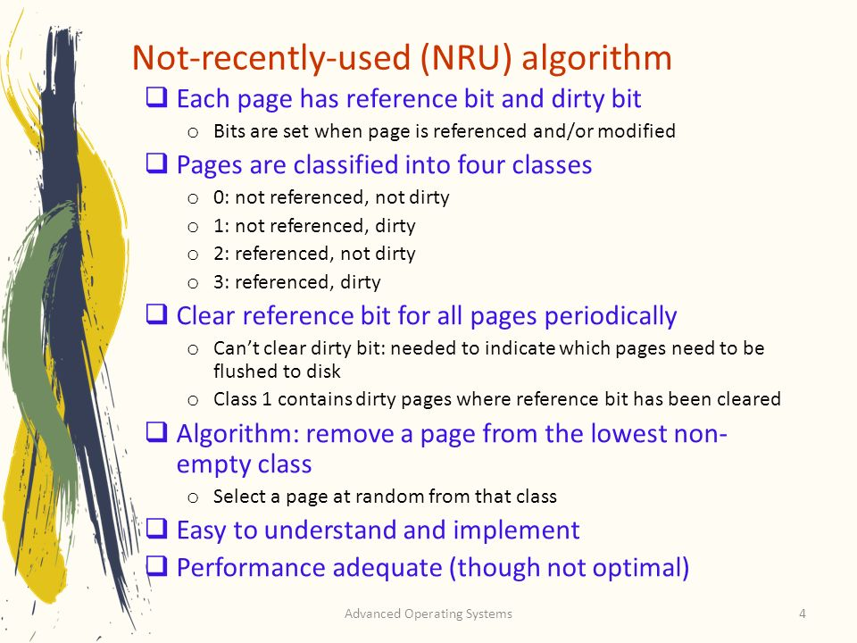 Not-recently-used (NRU) algorithm