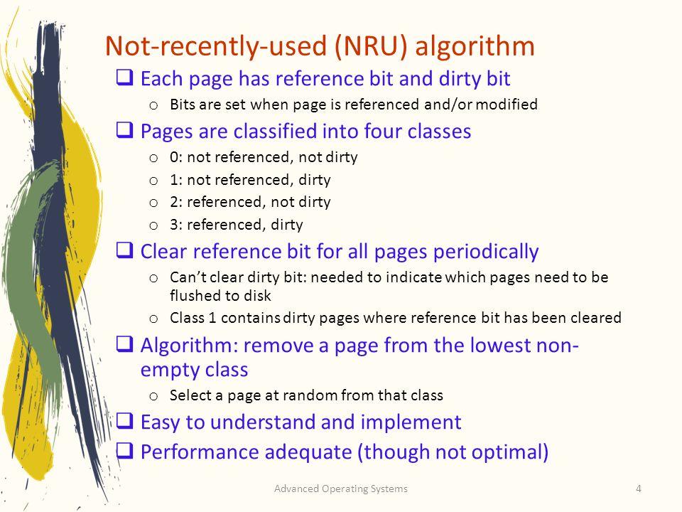Not-recently-used (NRU) algorithm