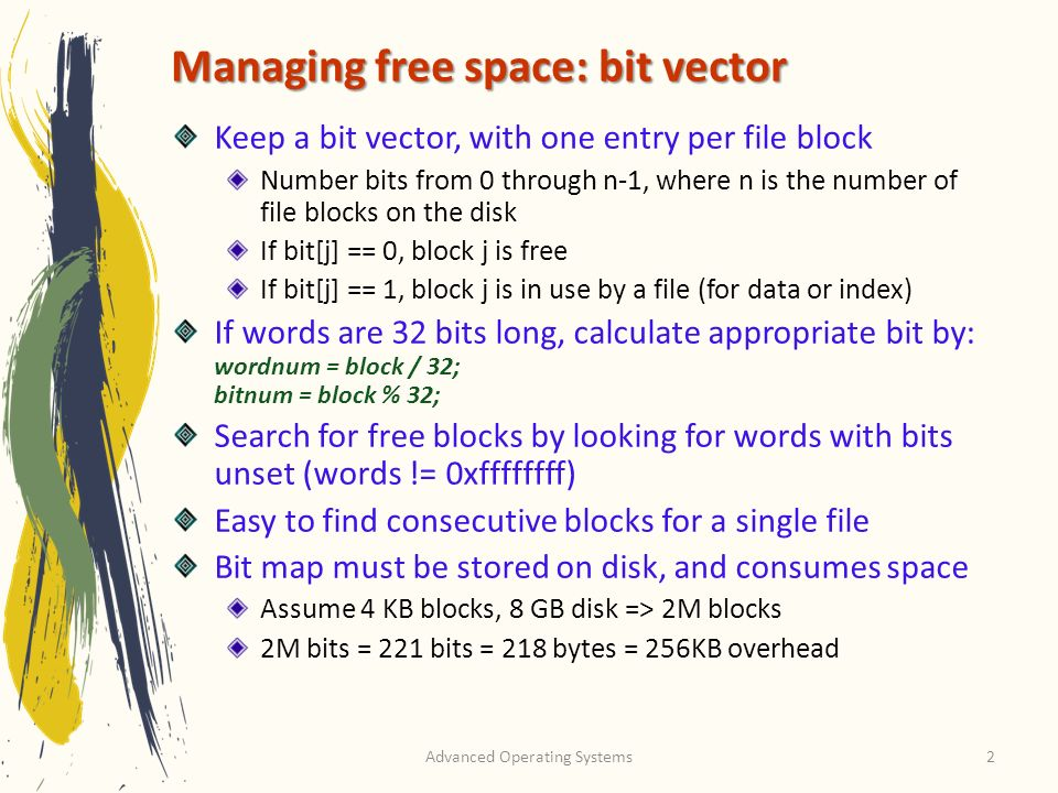 Managing free space: bit vector