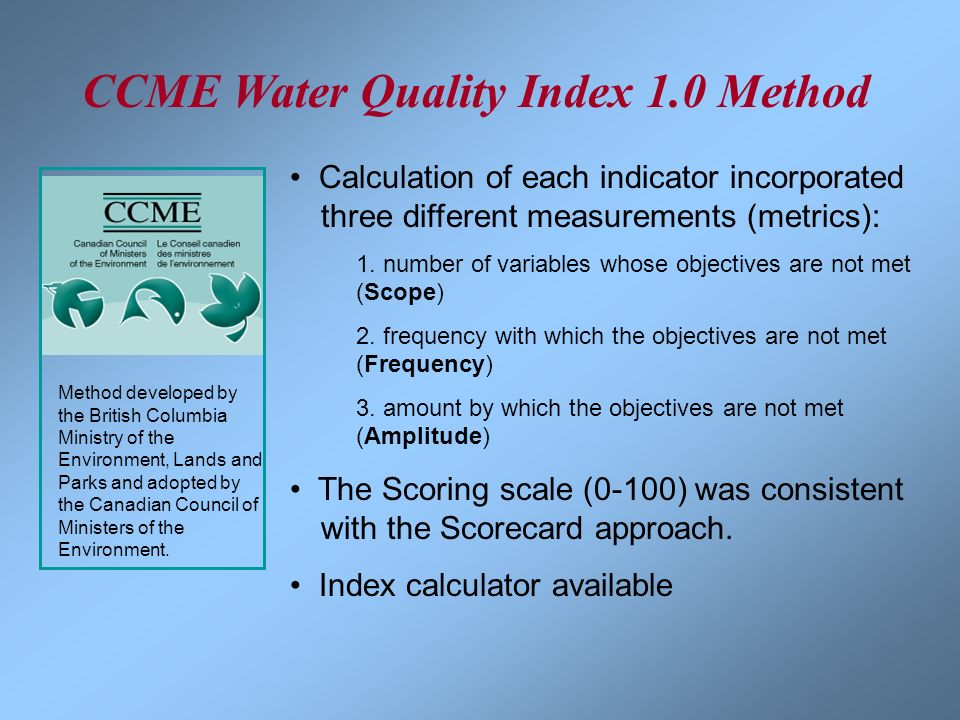 CCME Water Quality Index 1.0 Method