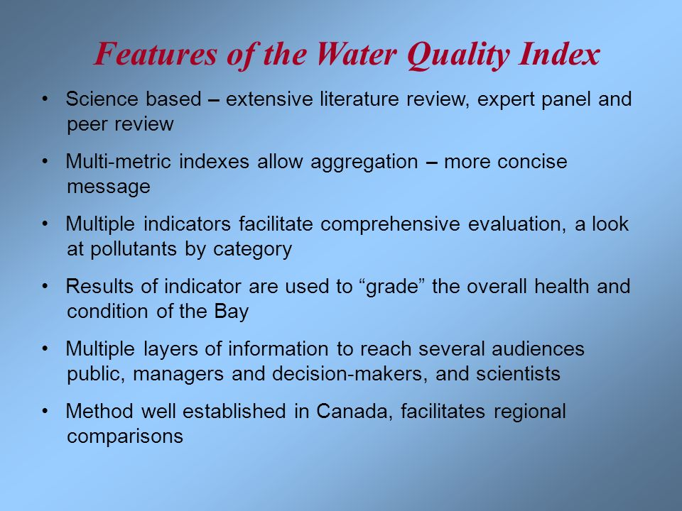 Features of the Water Quality Index