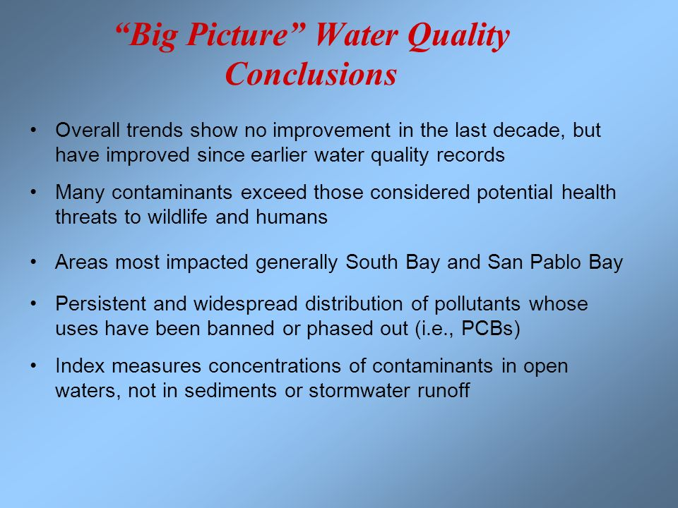 Big Picture Water Quality Conclusions