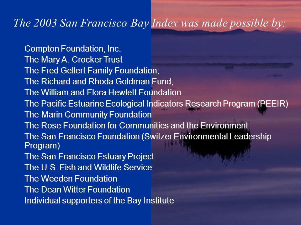The 2003 San Francisco Bay Index was made possible by: