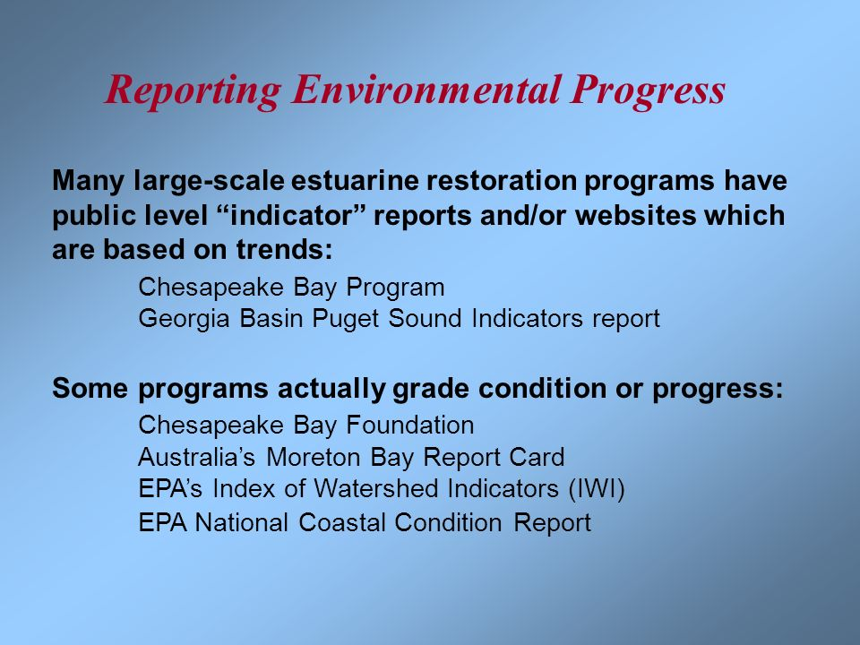 Reporting Environmental Progress