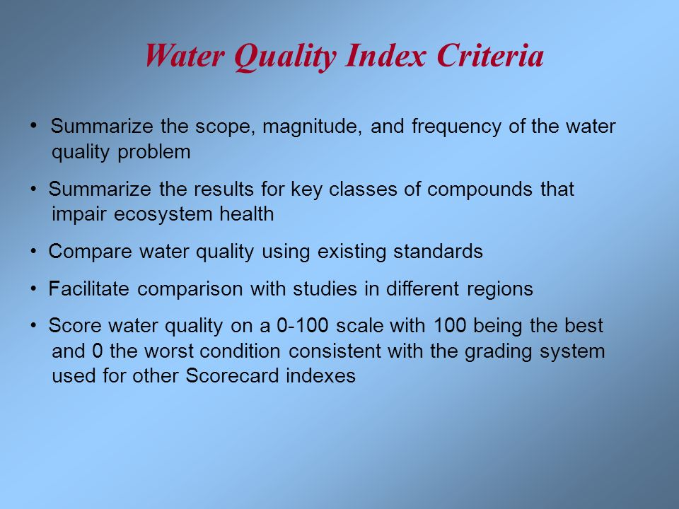 Water Quality Index Criteria