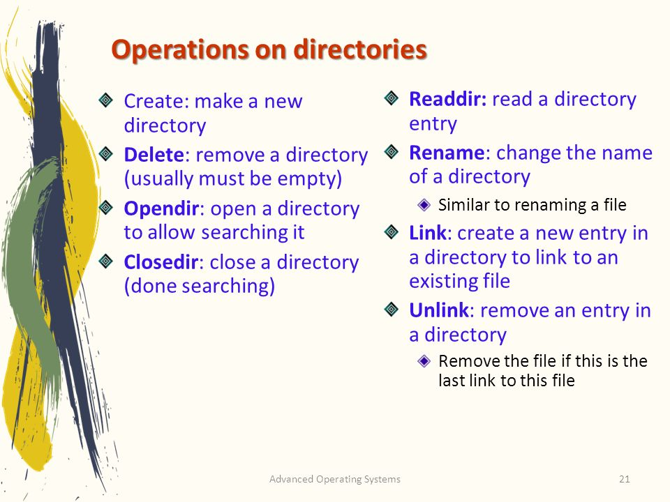Operations on directories