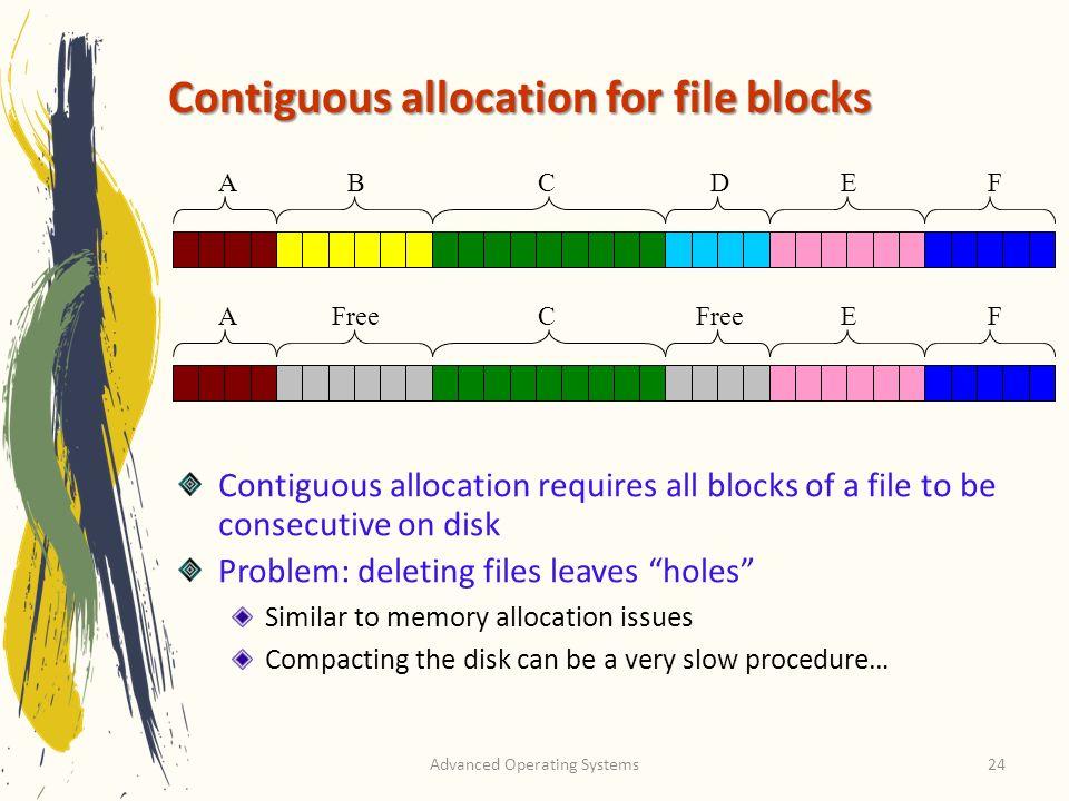 Contiguous allocation for file blocks