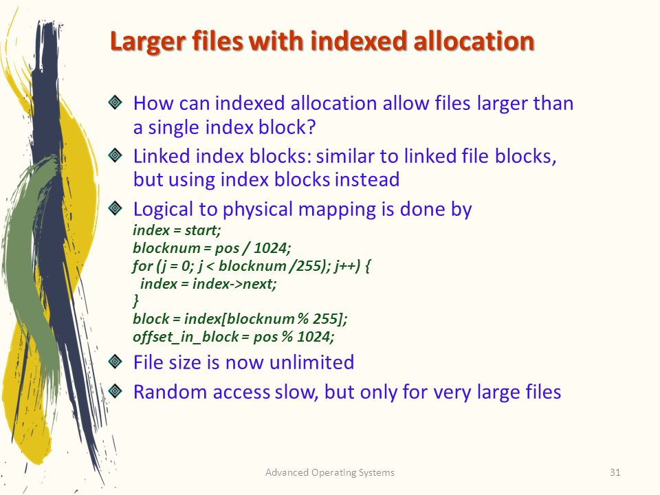 Larger files with indexed allocation