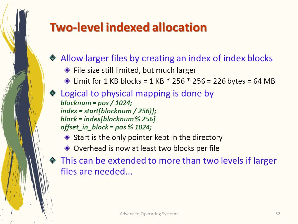 Two-level indexed allocation