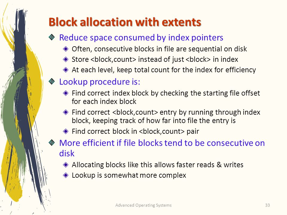 Block allocation with extents