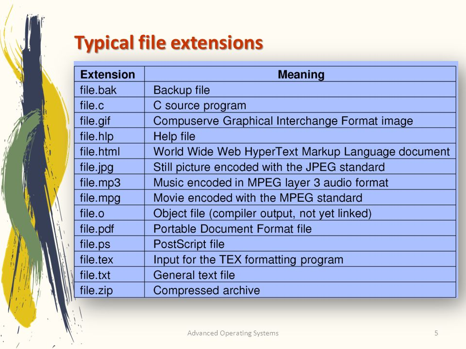 Typical file extensions