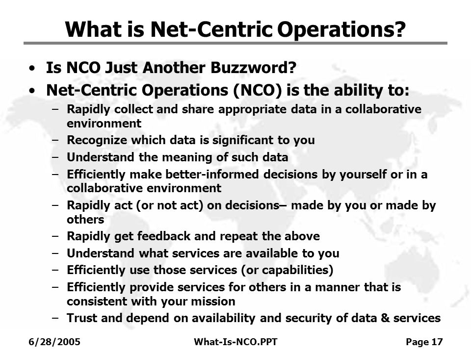 What is Net-Centric Operations