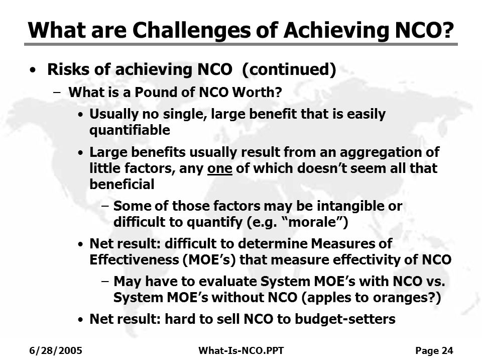 What are Challenges of Achieving NCO
