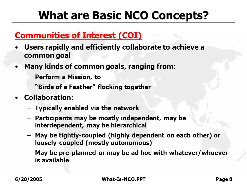 What are Basic NCO Concepts