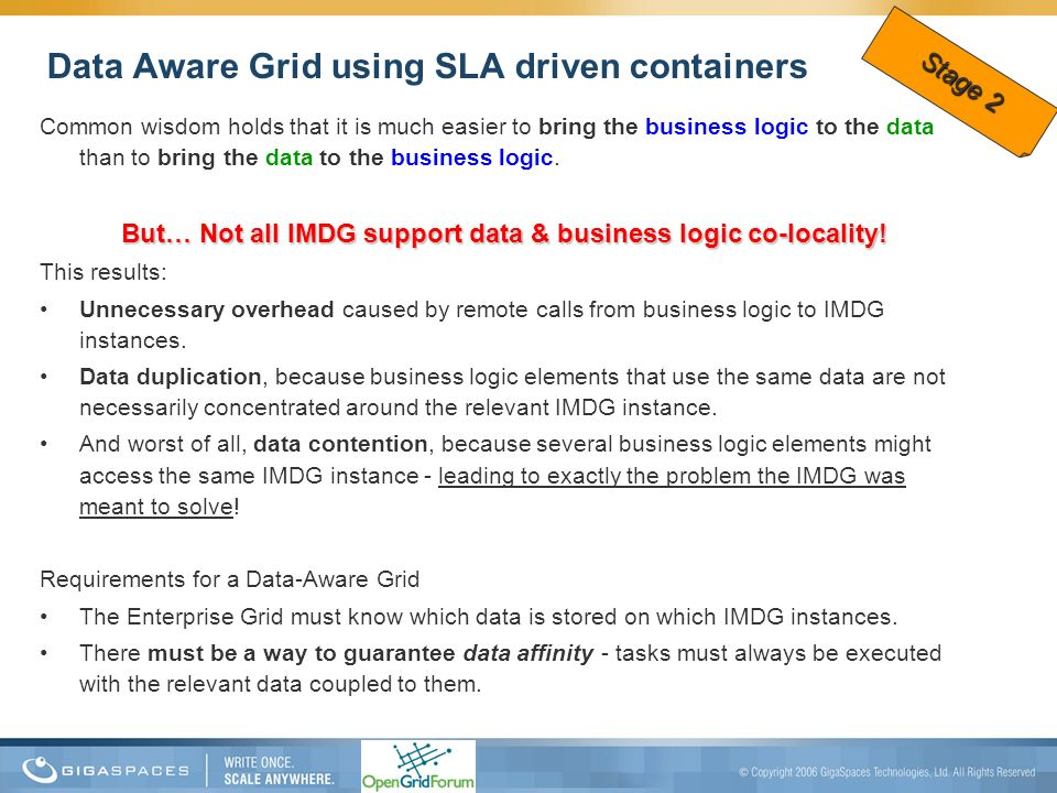 Data Aware Grid using SLA driven containers