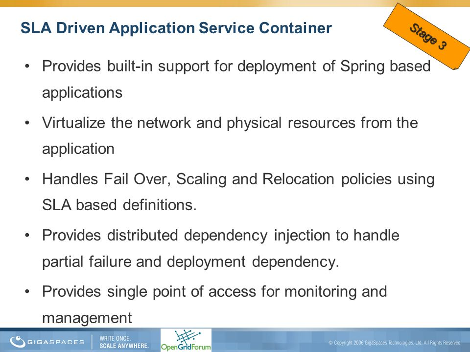SLA Driven Application Service Container