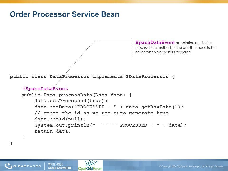 Order Processor Service Bean