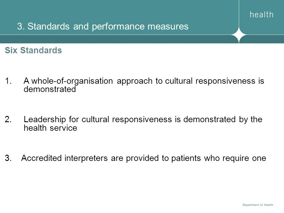 3. Standards and performance measures