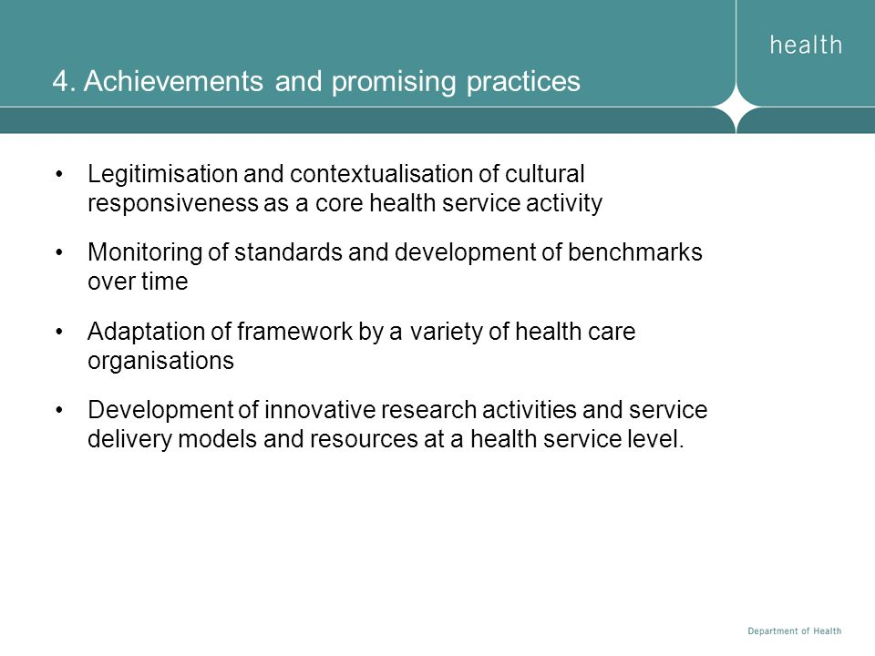4. Achievements and promising practices