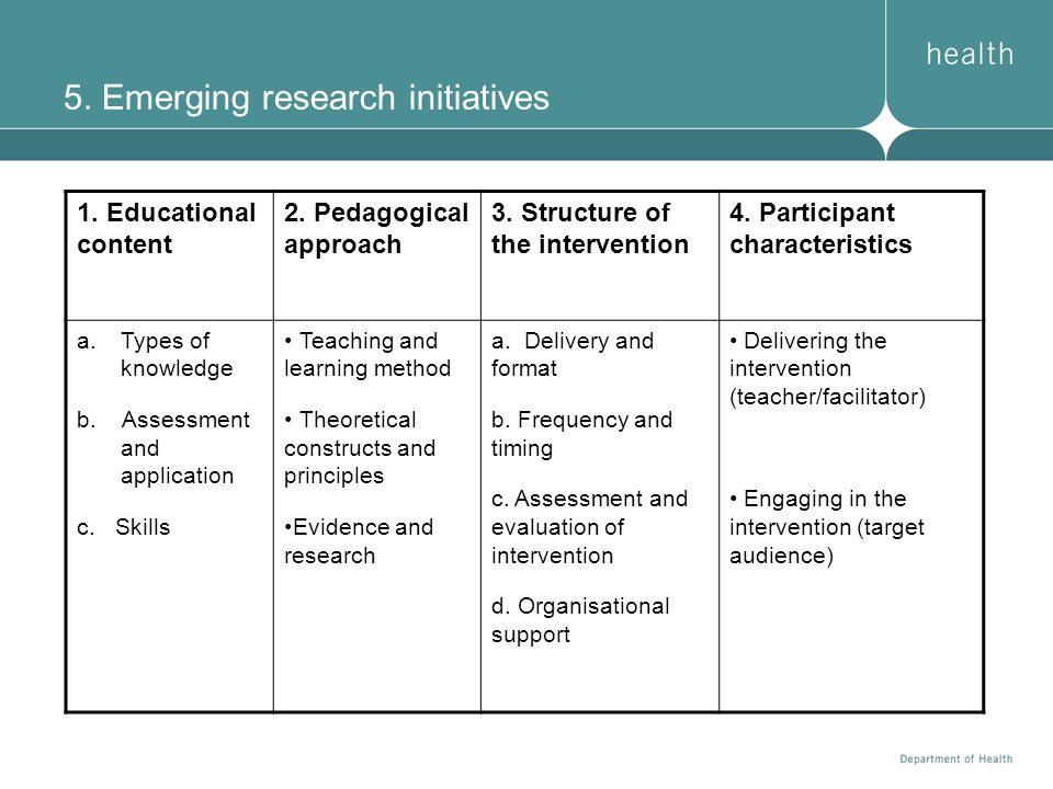 5. Emerging research initiatives