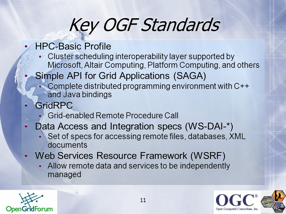 Key OGF Standards HPC-Basic Profile