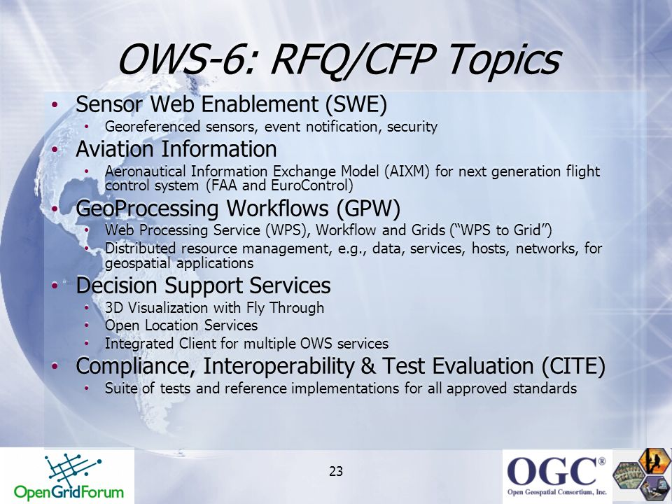 OWS-6: RFQ/CFP Topics Sensor Web Enablement (SWE) Aviation Information