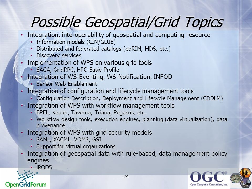 Possible Geospatial/Grid Topics