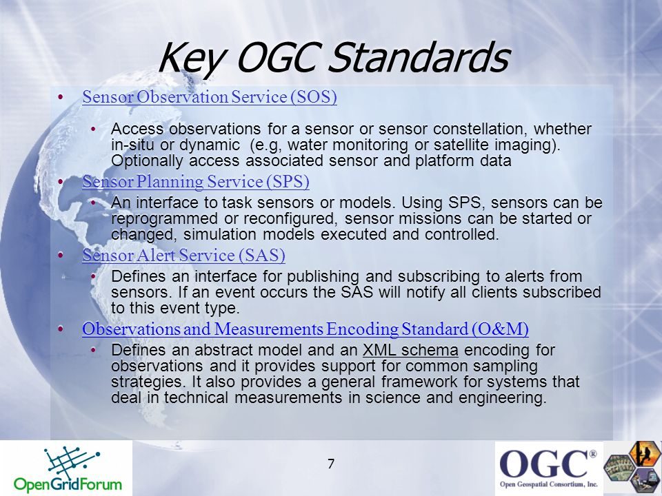 Key OGC Standards Sensor Observation Service (SOS)