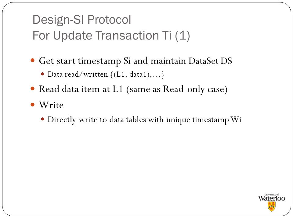 Design-SI Protocol For Update Transaction Ti (1)