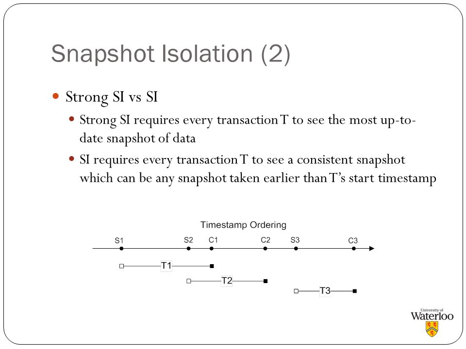 Snapshot Isolation (2) Strong SI vs SI