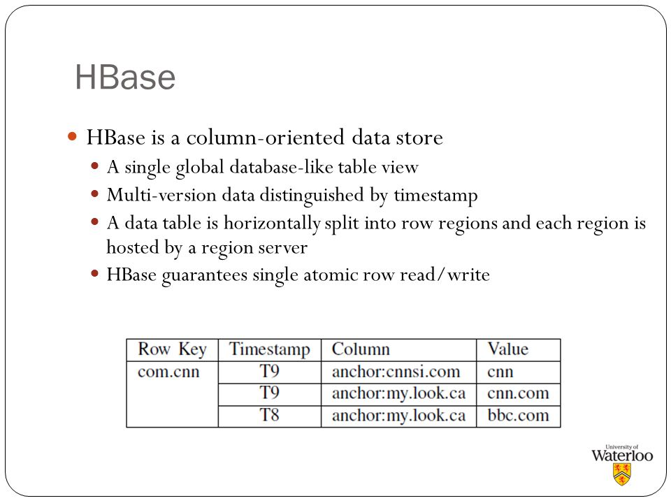 HBase HBase is a column-oriented data store