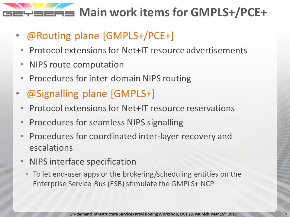 Main work items for GMPLS+/PCE+