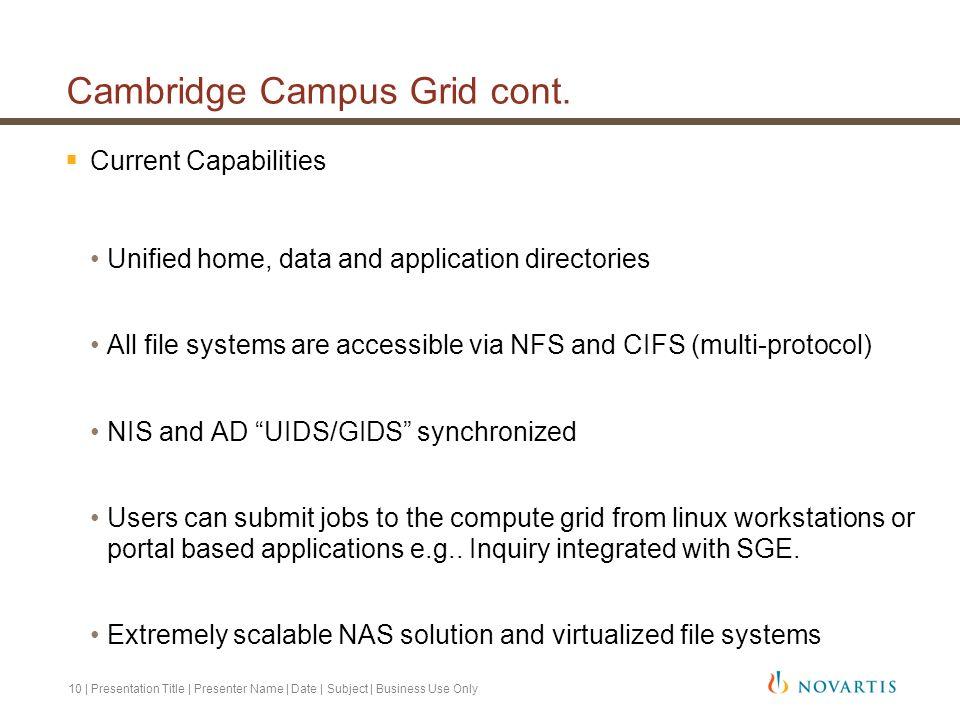 Cambridge Campus Grid cont.