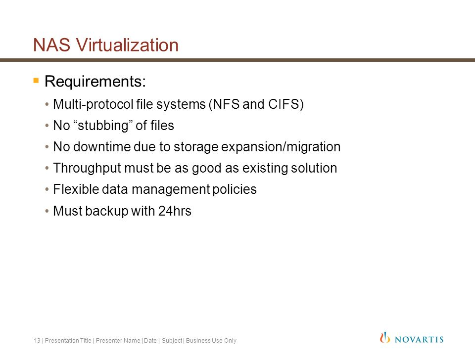 NAS Virtualization Requirements: