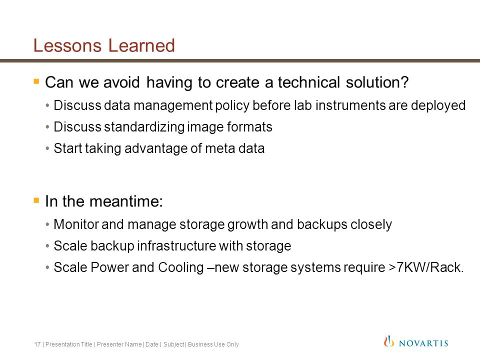 Lessons Learned Can we avoid having to create a technical solution