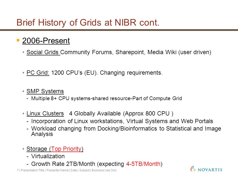 Brief History of Grids at NIBR cont.