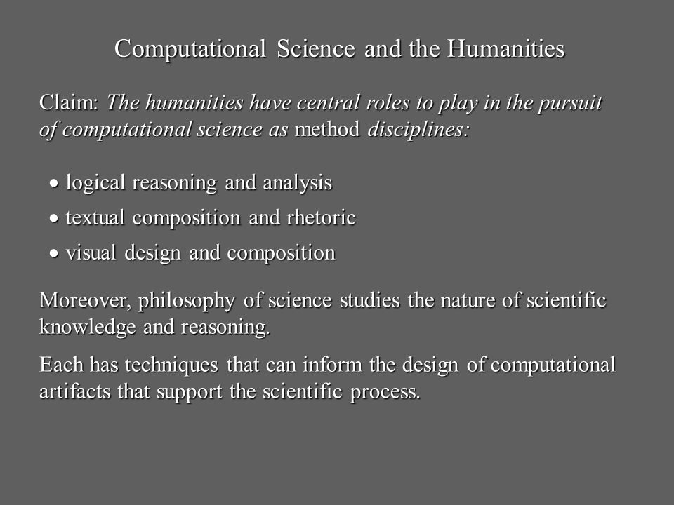 Computational Science and the Humanities