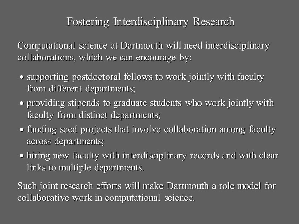 Fostering Interdisciplinary Research