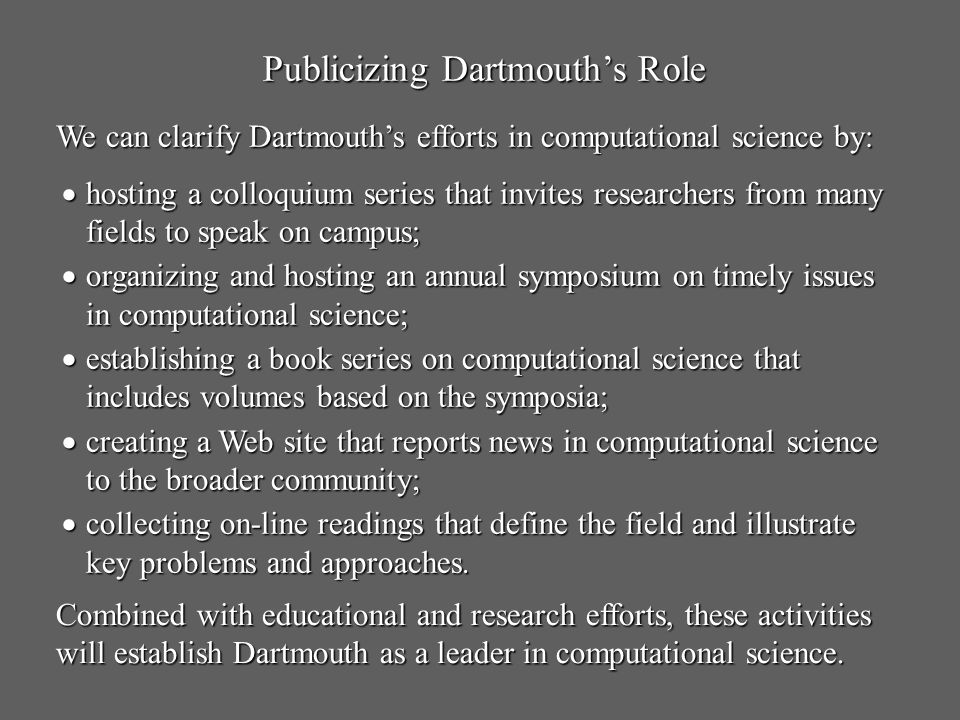 Publicizing Dartmouth's Role