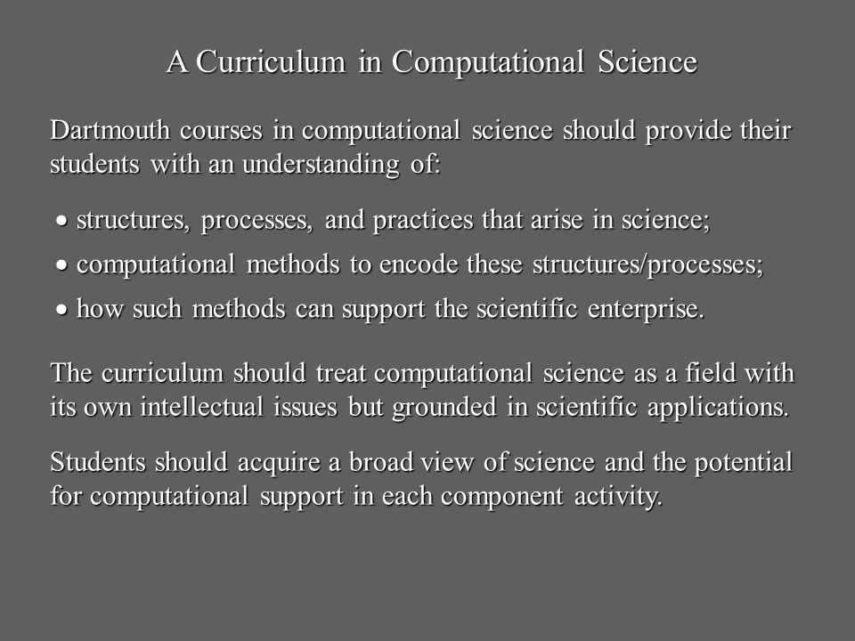 A Curriculum in Computational Science