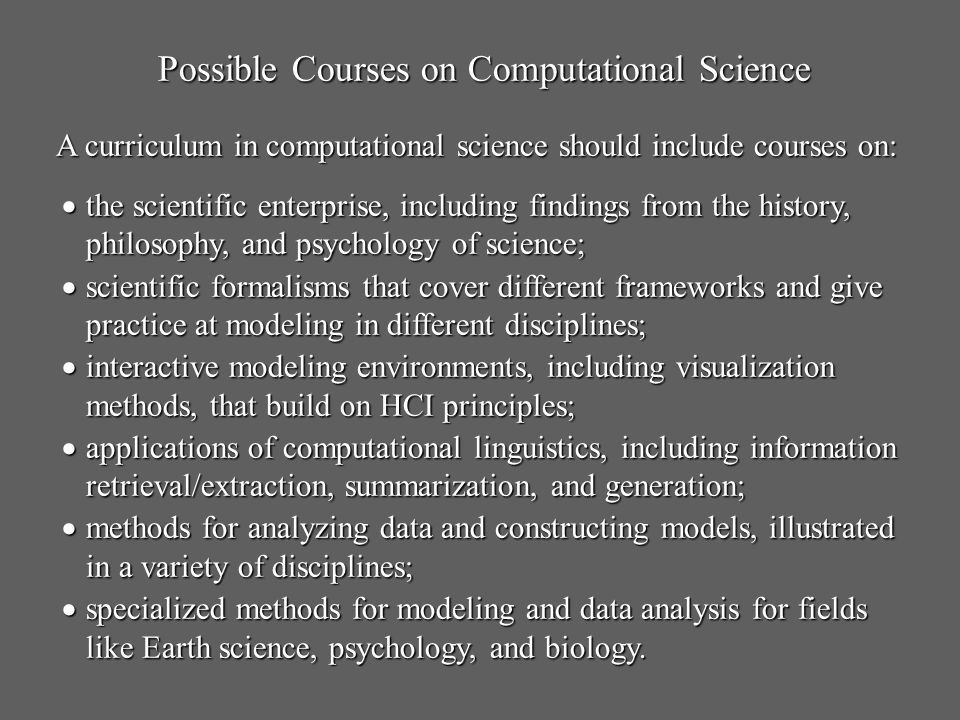 Possible Courses on Computational Science