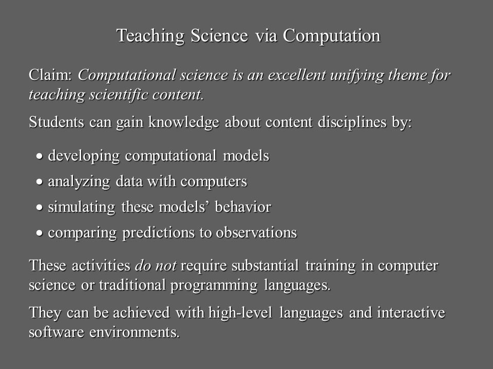 Teaching Science via Computation