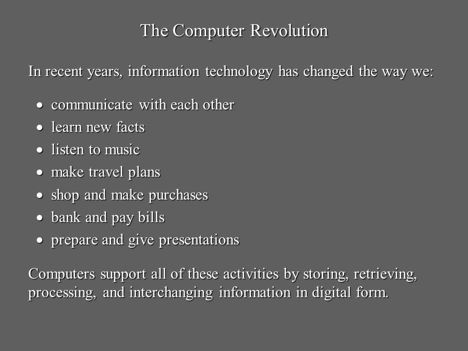 The Computer Revolution