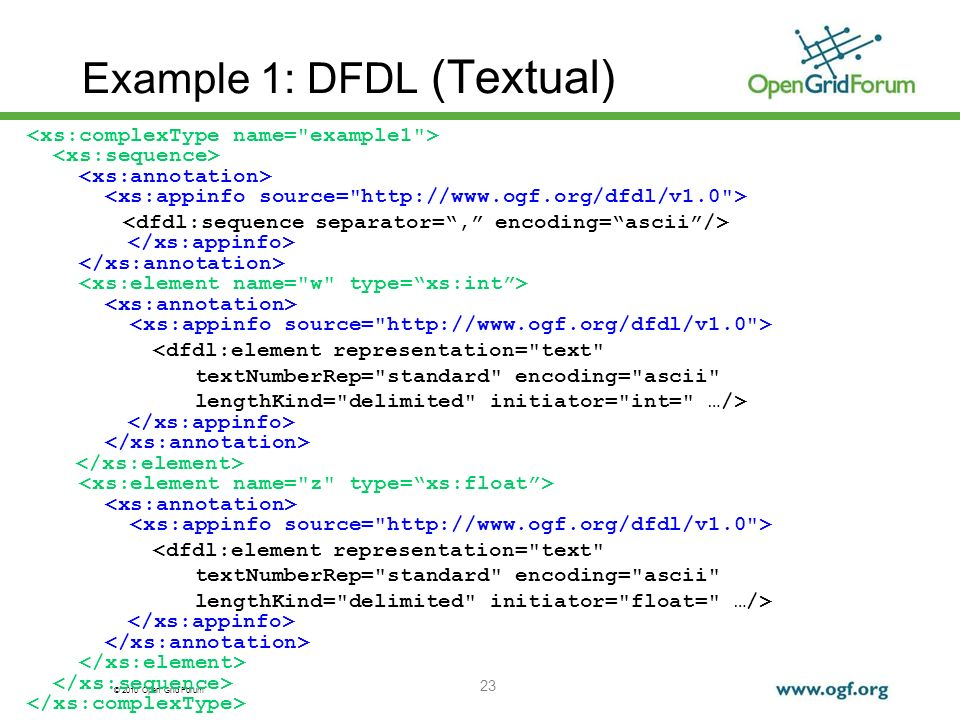 Example 1: DFDL (Textual)