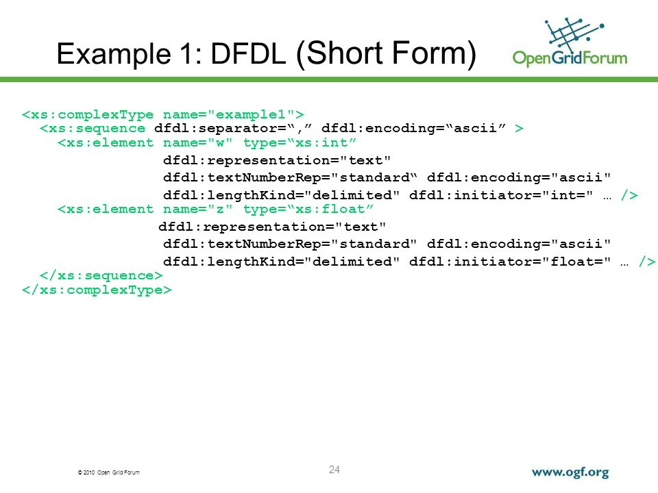 Example 1: DFDL (Short Form)