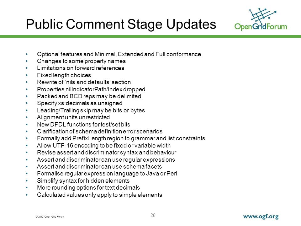 Public Comment Stage Updates