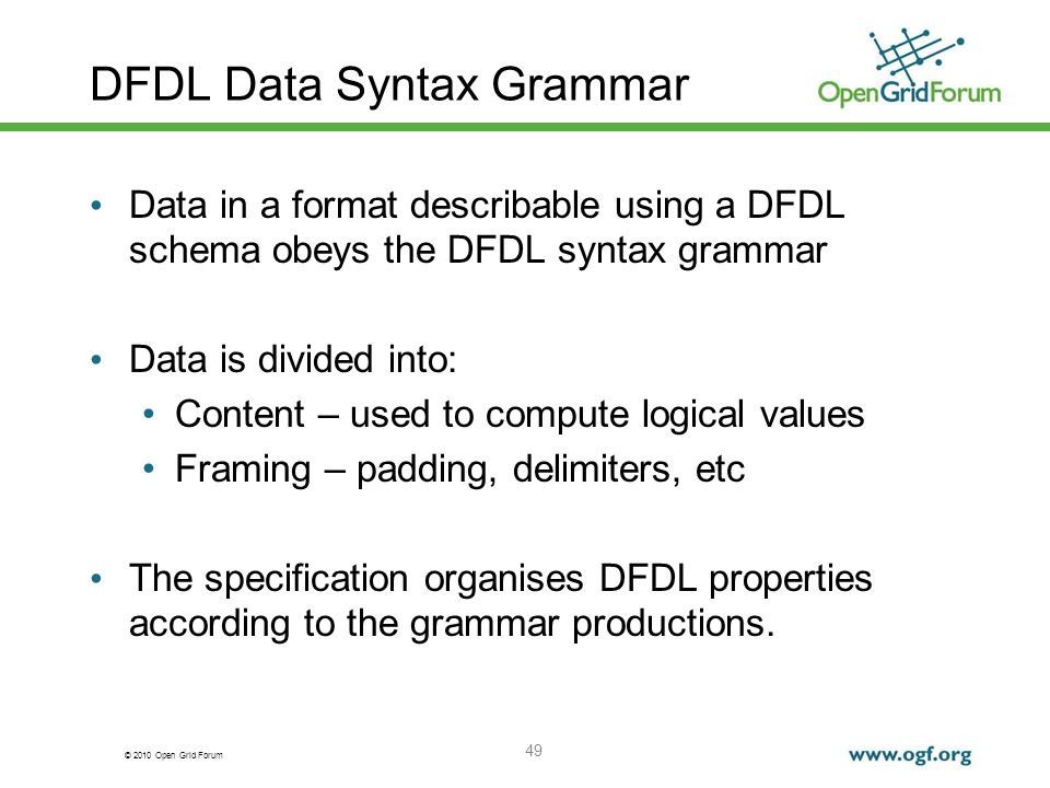 DFDL Data Syntax Grammar