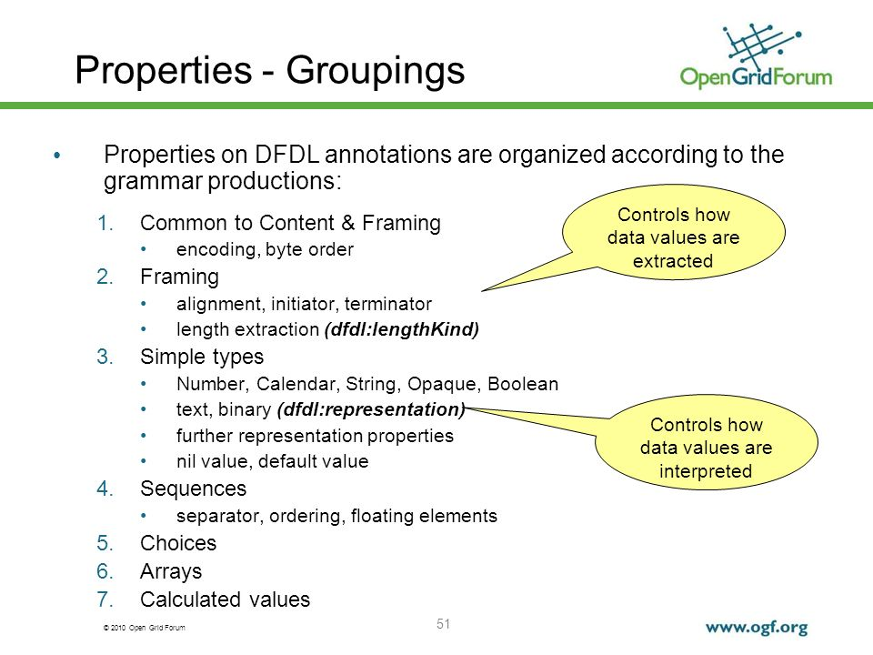 Properties - Groupings
