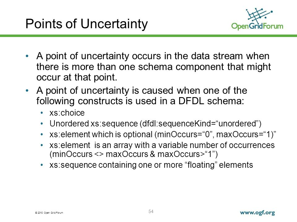 Points of Uncertainty A point of uncertainty occurs in the data stream when there is more than one schema component that might occur at that point.